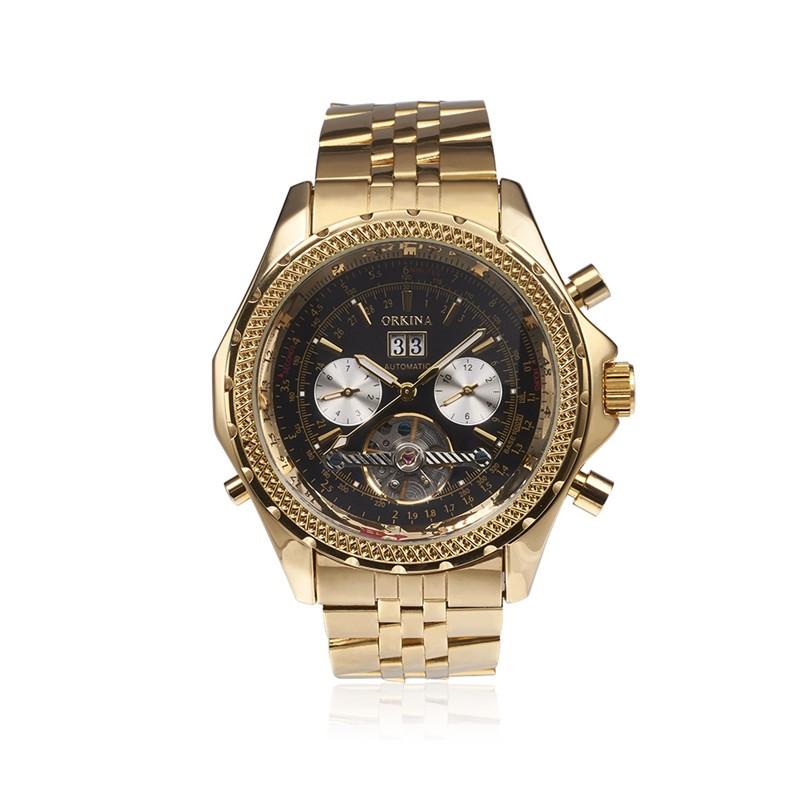 Prix pour Orkina hommes de luxe marque montres en acier inoxydable mécanique montres militaires d'affaires d'or/argent montre cadeau pour hommes