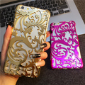 Encaje foral plástico de lujo damasco henna casos para apple iphone 6 6 s 6 plus 6 splus 5.5 pulgadas fundas envío libre