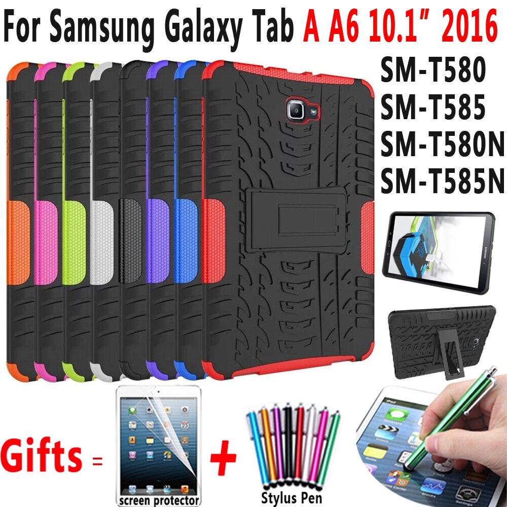 Neumático Funda de silicona para Samsung Galaxy Tab A A6 10,1 pulgadas 2016 T580 T585 T580N T585N SM-T580 SM-T585 Funda Coque soporte Holde