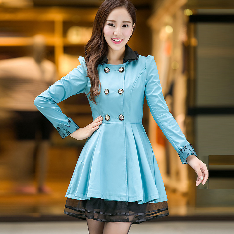 Manteau En 6xl pink Taille Slim Nouveau L blue Femmes Black breasted De Double Grande Dames Long Hiver Paragraphe Coréen 2014 qAnWgnwH