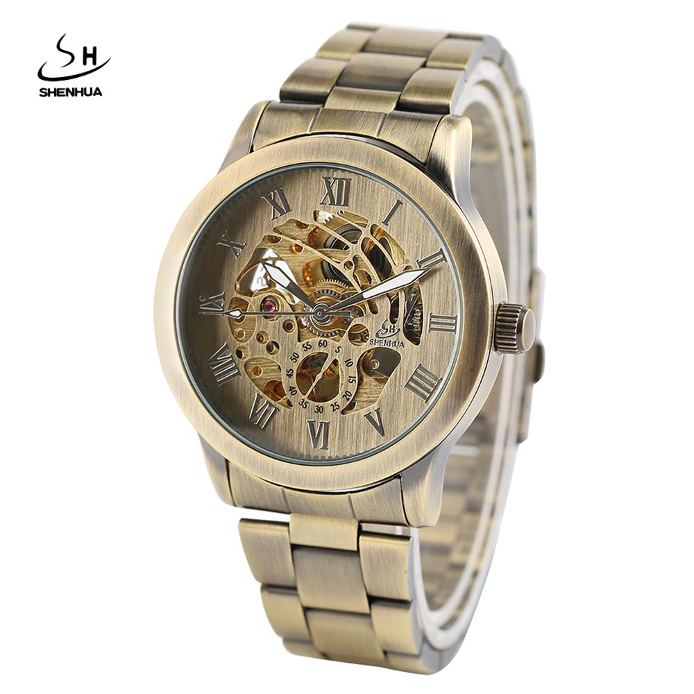 SHENHUA Vintage Bronze Mechanical Watch Men's Wristwatch Stainless Steel Watch Band Automatic Self-wind Roman Numbers Men Clocks 10pcs lot vintage bronze roman numbers open face pocket watch mechanical automatic self wind with 30 cm chain fob watches