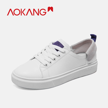 AOKANG 2019 New Arrival Women Casual Shoes Soft Comfortable Flat Shoes for Girl sneakers Summer shoes woman lace up flats