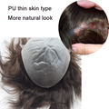 """Mens Toupee Indian Remy Hair 8""""x 10"""" Thinnest Skin Base Hair Piece Wig Natural Hairline Invisible Knots free shipping"""