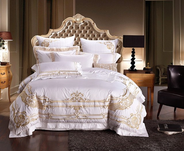 100% Egypt Cotton White Embroidery Palace Royal Luxury Bedding Sets King  Queen Size Hotel Bed