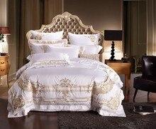 100% Египетский хлопок белый роскошный комплект постельного белья Король Королева Размер Вышивка Комплект постельного белья дворец королевская кровать пододеяльник простыня комплект