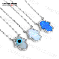 Synthetic Opal Hamsa Hand Of Fatima Charm Genuine 925 Sterling Silver Pendant Necklace