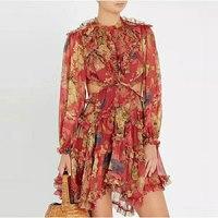2018 Fall/Autumn New Vocation and Holiday Flower Print Sexy Backless Dress Women Long SLeeve Fashion Silk Runway Designer Dress