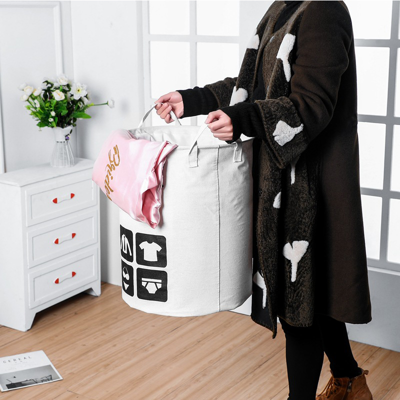 Home Cute Folding Laundry Basket Storage Barrel Standing Toys Clothing Storage Bucket Laundry Organizer Holder Pouch Household in Storage Baskets from Home Garden