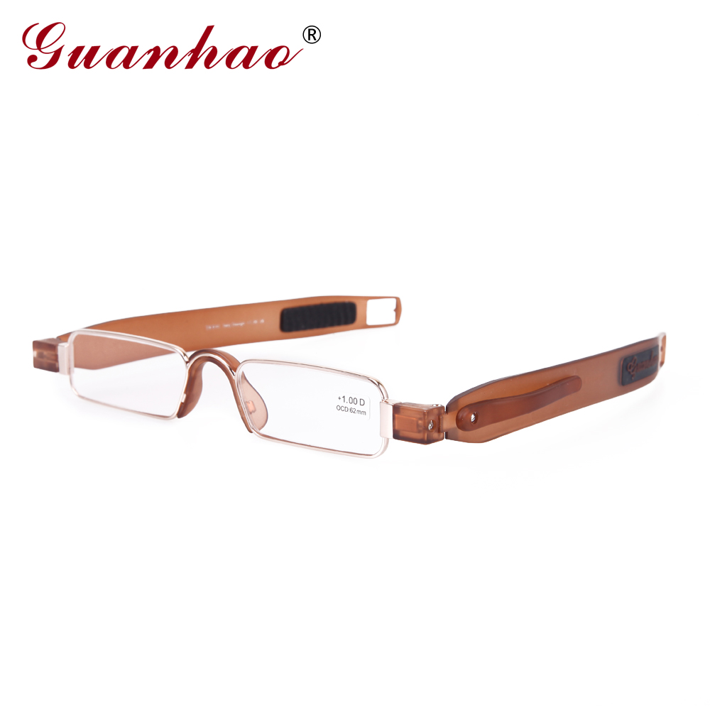 Guanhao Brand Retro Portable Reading Glasses Rotating TR90 Resin Foldable Reading Glasses Presbyopic Glasses Men Women Eyewear