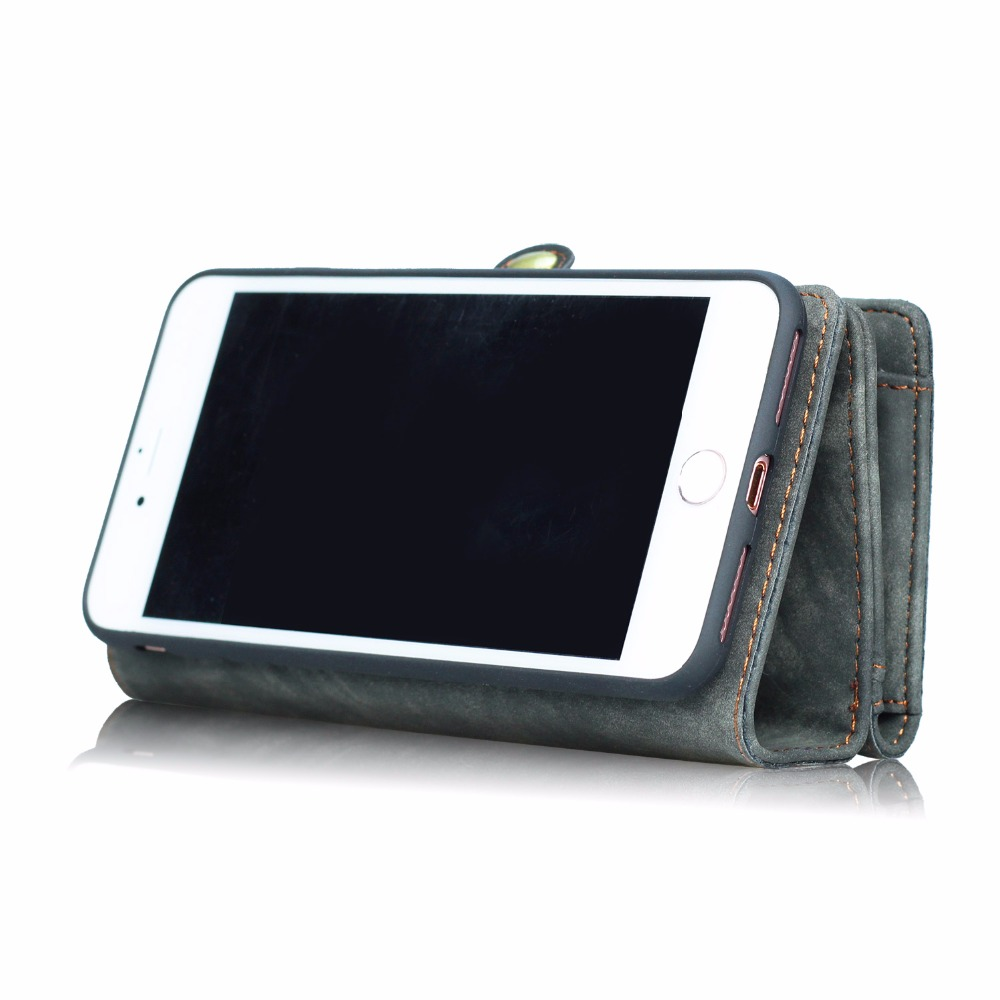 Для iPhone 6 6 S Plus MEGSHI настоящая роскошь 2 в 1 съемная искусственная кожа флип сумка покрытия многофункциональный бумажник чехол