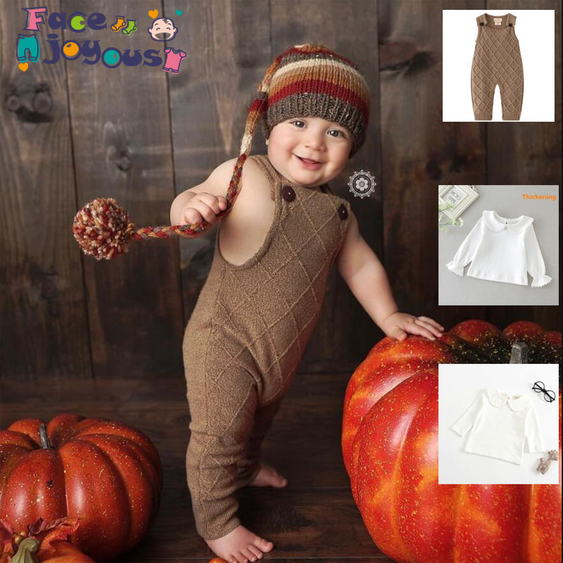 Newborn Girls Overalls Clothes Knitted Baby Rompers + T shirt New Girls Jumpsuit Baby Boys Rompers Solid Baby Jumpsuits Clothes