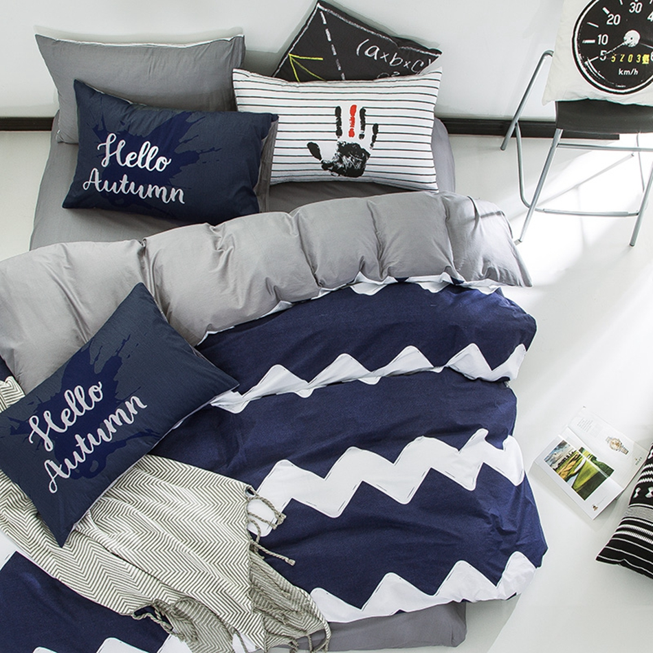 Blue and white stripes duvet cover set twin queen size ...