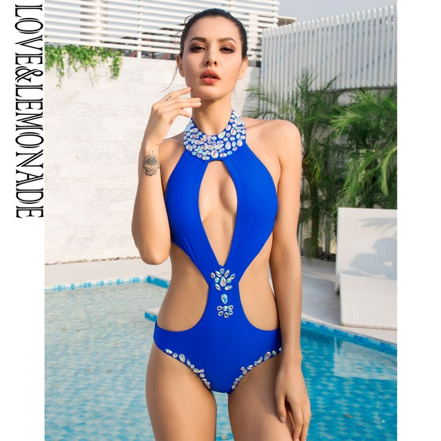 8dc338484df7 Blue Cut Out Colored Beaded Decoration Beach Bodysuit LM1101. 1 order