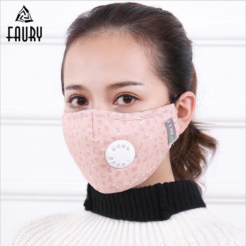 El Mejor Las Mujeres Pm2.5 Máscara De Algodón Aliento Válvula Anti-polvo A Prueba De Viento De Filtro De Carbono Activado Respirador Boca Mufla Médico Máscaras