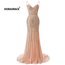 Doragrace Real Photo High-end Authentic Luxury Diamond Chain Evening Dresses Party Gown Long Dress Formal