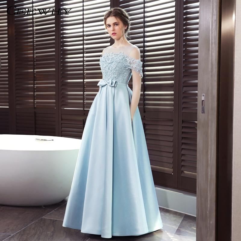 CEEWHY Open Back Light Blue A line Long Evening Dress Lace Satin ...