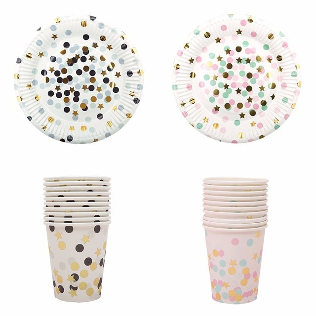 Golden Stars And Dots High end Disposable Tableware Set Paper Plates ...