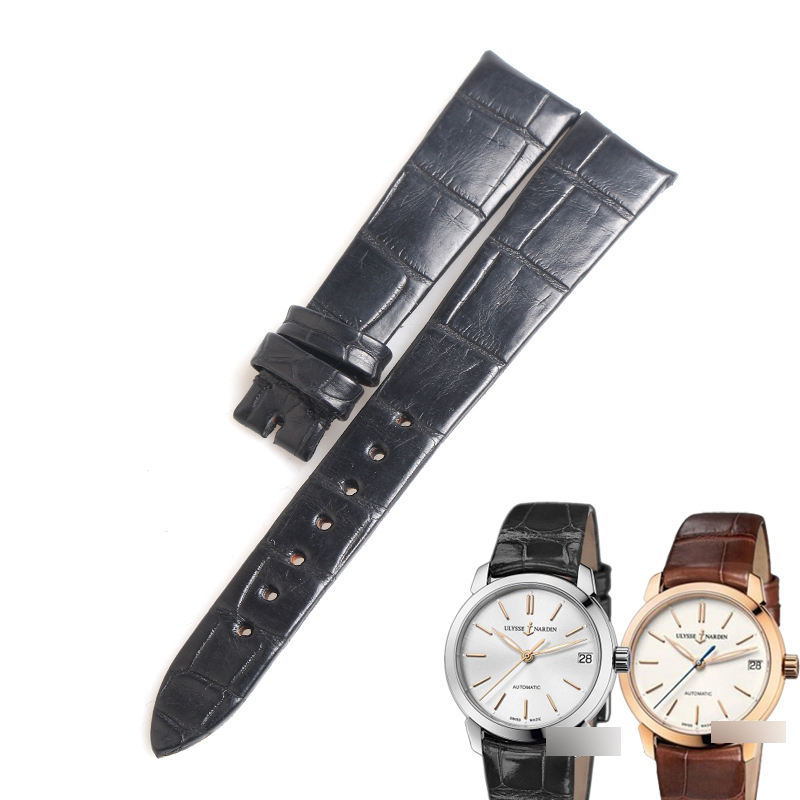 WENTULA watchbands for Ulysse Nardin LADY CLASSICO alligator skin /crocodile grain 8106 watch band strap