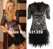 Schwarz Spitze V Ansatz Halbe Mini Maß Kleid Vestido De Festa Design CD9253 Feder Boden Cocktailkleid
