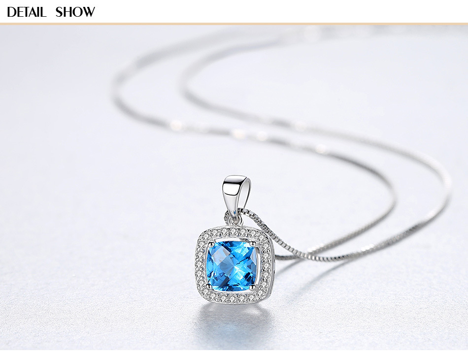 S925 sterling silver necklace women s fashion micro embellished gemstone head pendant female DS09