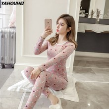 c9e657d73b 2019 Autumn Winter Fleece Thermal Underwear Sets for Women Long Sleeve  Thick Warm Long Johns Pajamas Sleepwear Homewear Clothing-in Pajama Sets  from ...