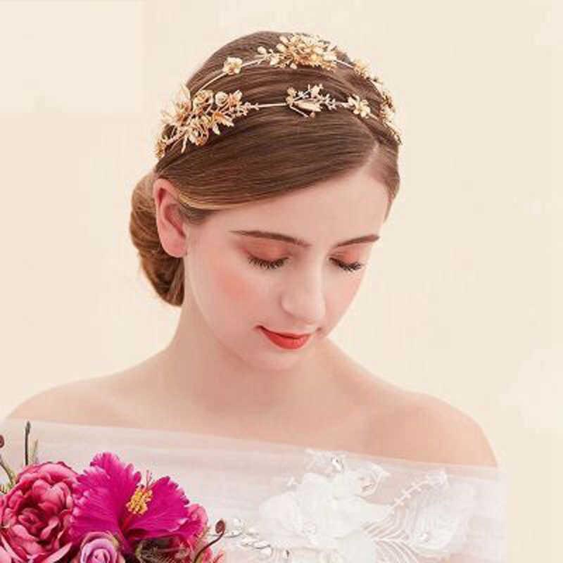 TUANMING Vàng Sang Trọng Vương Miện Kim Loại Hoa Vương Miện Đôi Hairband Cô Dâu Cái Mũ Phụ Nữ Trang Sức Handmade Tóc Cưới Phụ Kiện