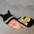 Черный Бэтмен Дизайн новорожденных фото реквизит Фотографии Реквизит Вязаная Шапка с хвосты Костюм Новорожденных Фото Побегов Набор 2016
