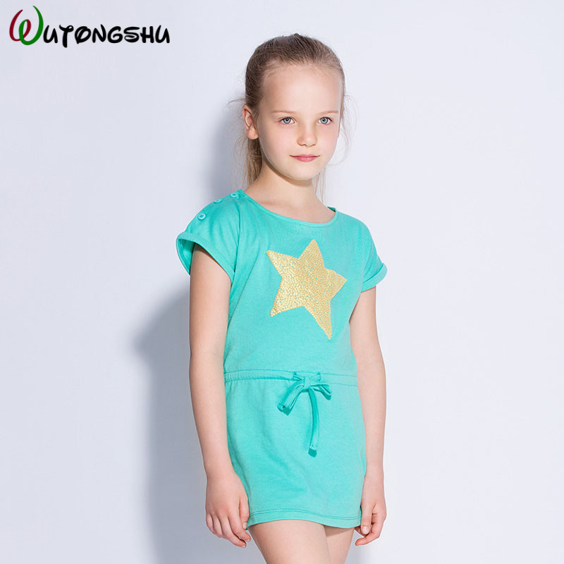 Girls Dress Pink Short Sleeve Baby Girls Clothes Printed Party Princess Dress Spring Dresses for Kids Clothing Children Dresses