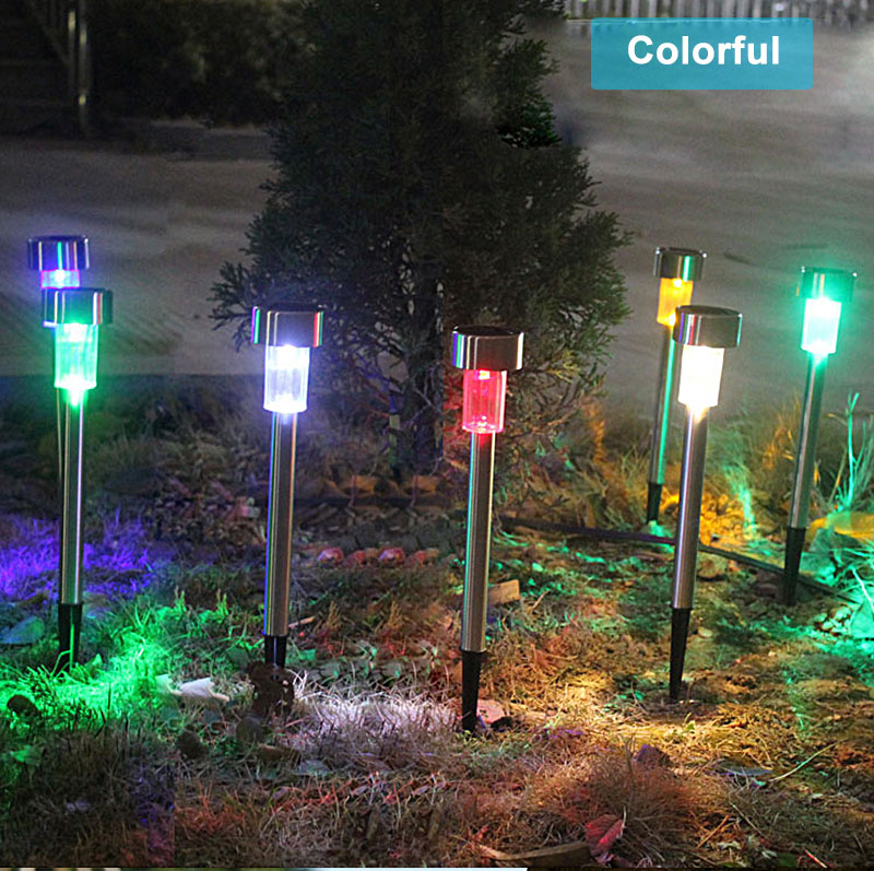 Outdoor Solar Light Colorful Changing Solar Lawn Light Garden Lamp Waterproof Stainless Steel Yard Path Lawn Lamp 8