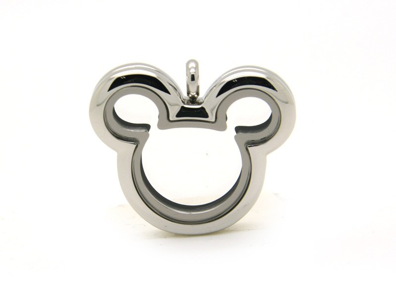 2018 Cute Silver Mouse Head Plain Stainless Steel Floating Locket Pendants Jewelry in Pendants from Jewelry Accessories