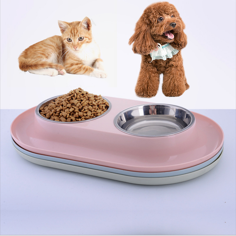 Dogs feeding water double bowl Steel Dog feed Bowl With No Spill Non-Skid Silicone Mat Feeder Pet Puppy Cat Food Container for