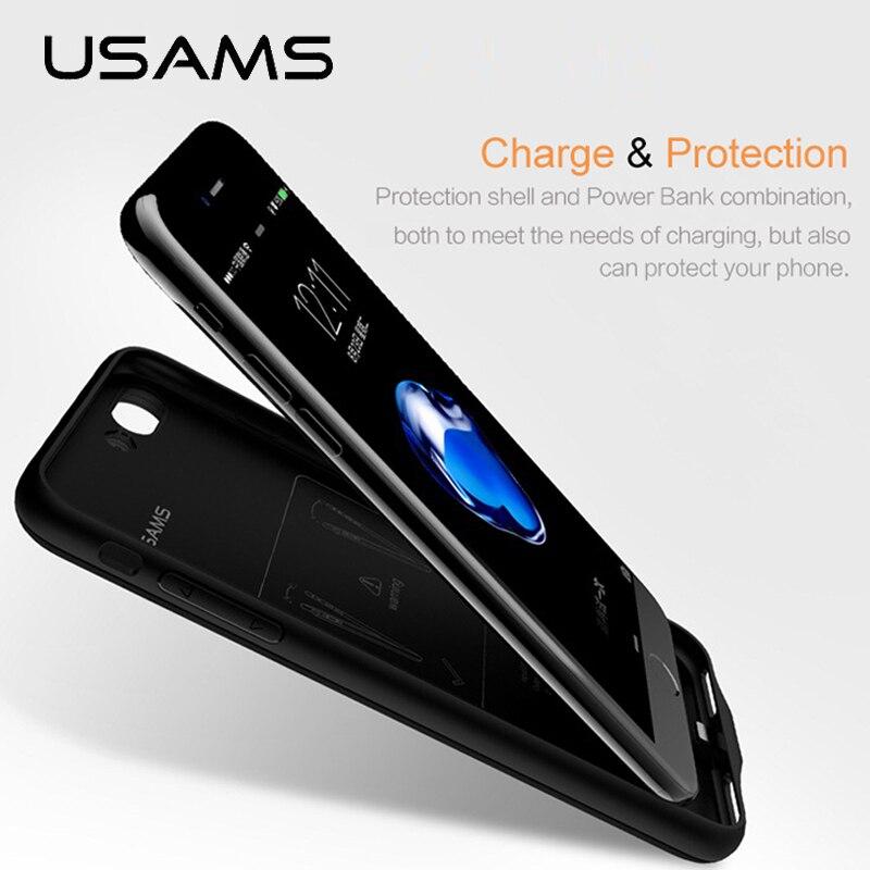 imágenes para Para iphone 7 7 plus power bank caso usams caso ultra delgado paquete de reserva externo del cargador de batería portátil cargador caso 2500 y 3650 mah