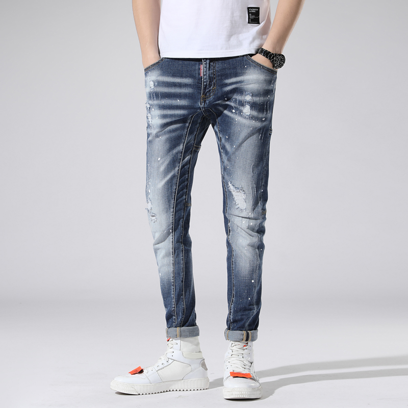 New Torn ripped   jeans   for men spliced skinny blue mens   jeans   elastic stretch slim pants clothes hip hop streetwear Spring Summer