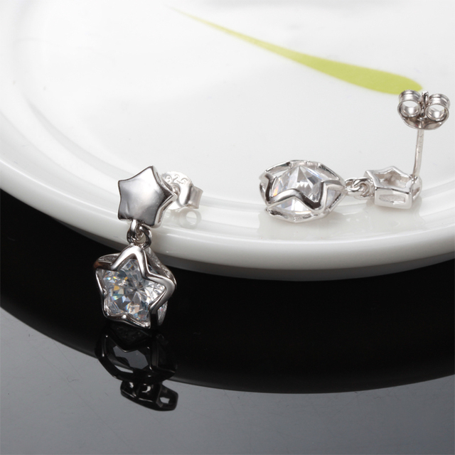 Cute The stars shining pure cubic zirconia Tremella nail new women jewelry free delivery sterling silver jewelry