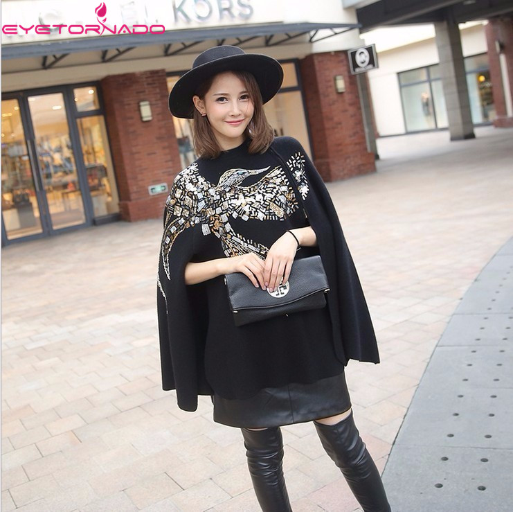 Women Phoenix Beadings Sequined Knitted Sweater Wool Cape Autumn Batwing Sleeve Casual Cloak Loose Oversize Coat Poncho Outwear