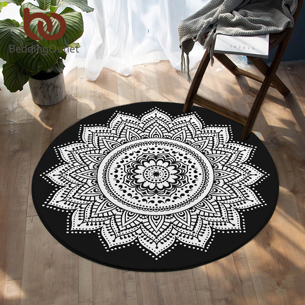 BeddingOutlet Mandala Round Floor Carpet Bohemian Anti-slip Area Rugs Mat Bedroom Floral Lotus Decorative Tapete For Living Room