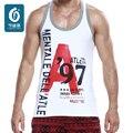 Moda Impresso Vest Regata 100% Algodão Camisas Dos Homens Ocasionais dos homens Respirável Carta Tops Para Homens