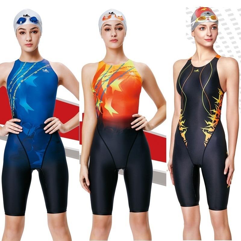 Yingfa มืออาชีพการแข่งขันชุดว่ายน้ำผู้หญิงสาว one p iece ชุดว่ายน้ำเด็กการฝึกอบรมชุดว่ายน้ำแข่งเข่าชุดว่ายน้ำ