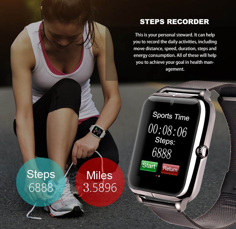 Bluetooth Smart Watch Z50 support SIM TF card Pedometer camera Sleep Monitor call SMS Sedntary Reminder smartwatch for android