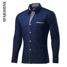 New Fashion Casual Men Shirt Long Sleeve Turn Down Collar Slim Fit Camisa Masculina Male Korean Business Mens Dress Shirts