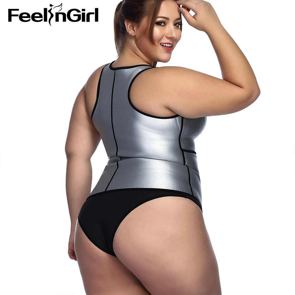 d18d2251220 ... FeelinGirl Neoprene Sauna Vest Body Shaper Slimming Waist Trainer Hot  Shapers Fajas PU Silver Adjustable Workout ...
