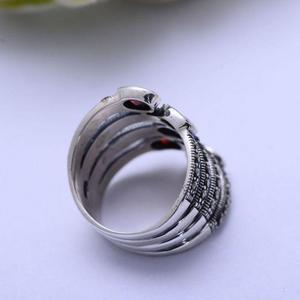 Image 4 - GQTORCH Natürliche Edelstein Breite Ringe Für Frauen Rot Granat Stein Echt Reine 925 Sterling Silber Schmuck Markasit Multi Schicht Ring