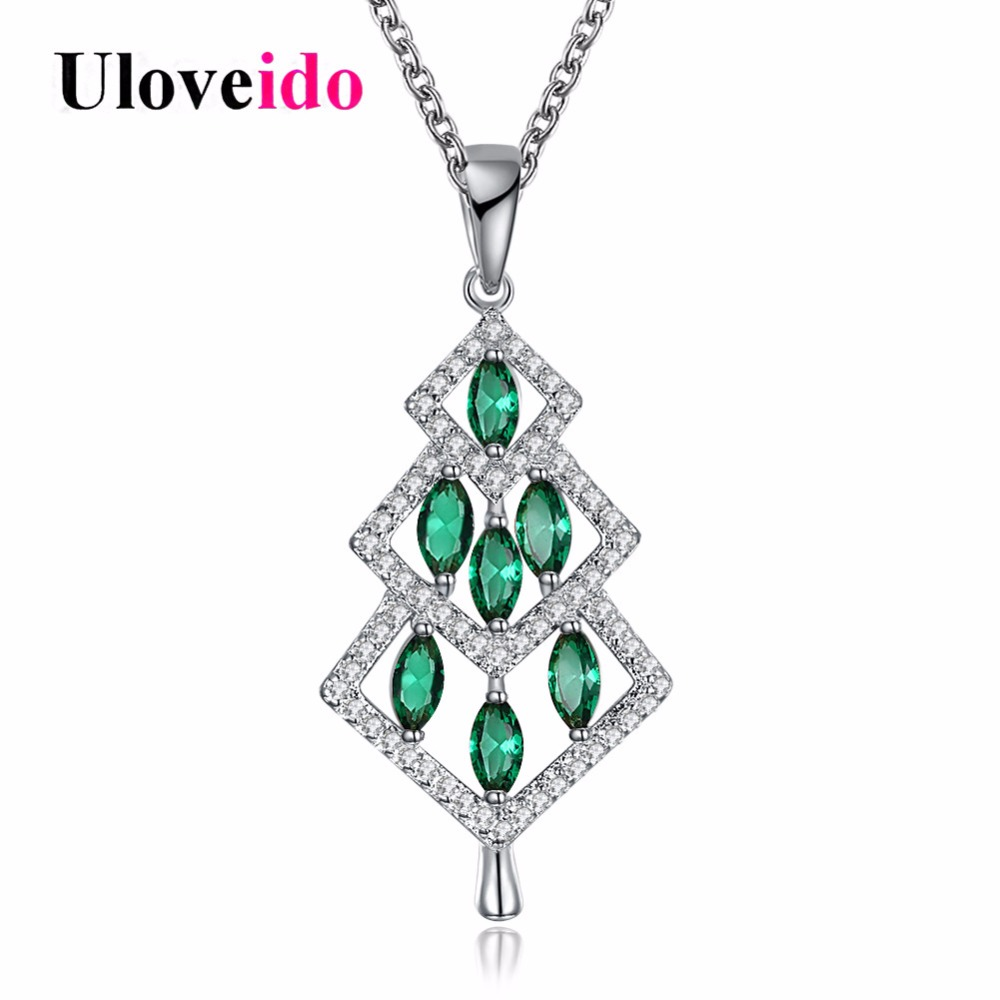 Uloveido Silver Color Green Christmas Tree Necklaces & Pendants Decorating Necklace Female New Year Gifts Black Friday PN1210