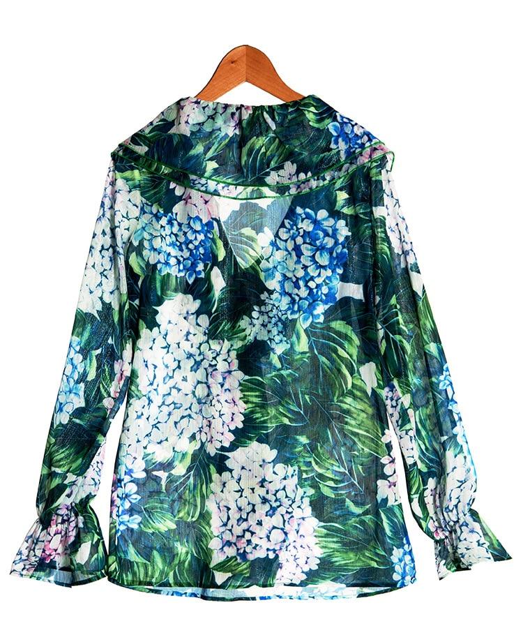 H606 As Manches Haute Longues Show Femmes De Blouse Soie Fleurs Mode À Mousseline Piste Chemise V Col Nouvelle Imprimé Designer Vert Qualité 2018 1qO1nSRA