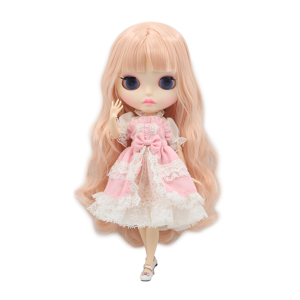 Blyth Doll 1 6 Joint Body New matte face white skin Teenage pink curly hair DIY