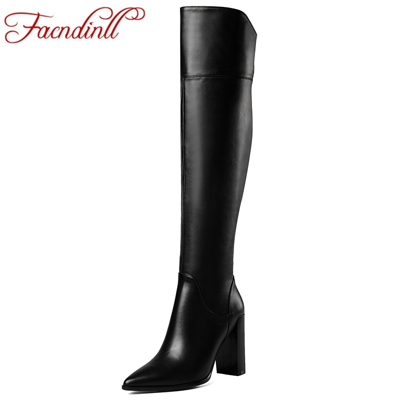 FACNDINLL winter shoes women's thigh high warm boots sexy over the knee boots fashion women boots black full leather long boots 2017 sexy thick bottom women s over the knee snow boots leather fashion ladies winter flats shoes woman thigh high long boots