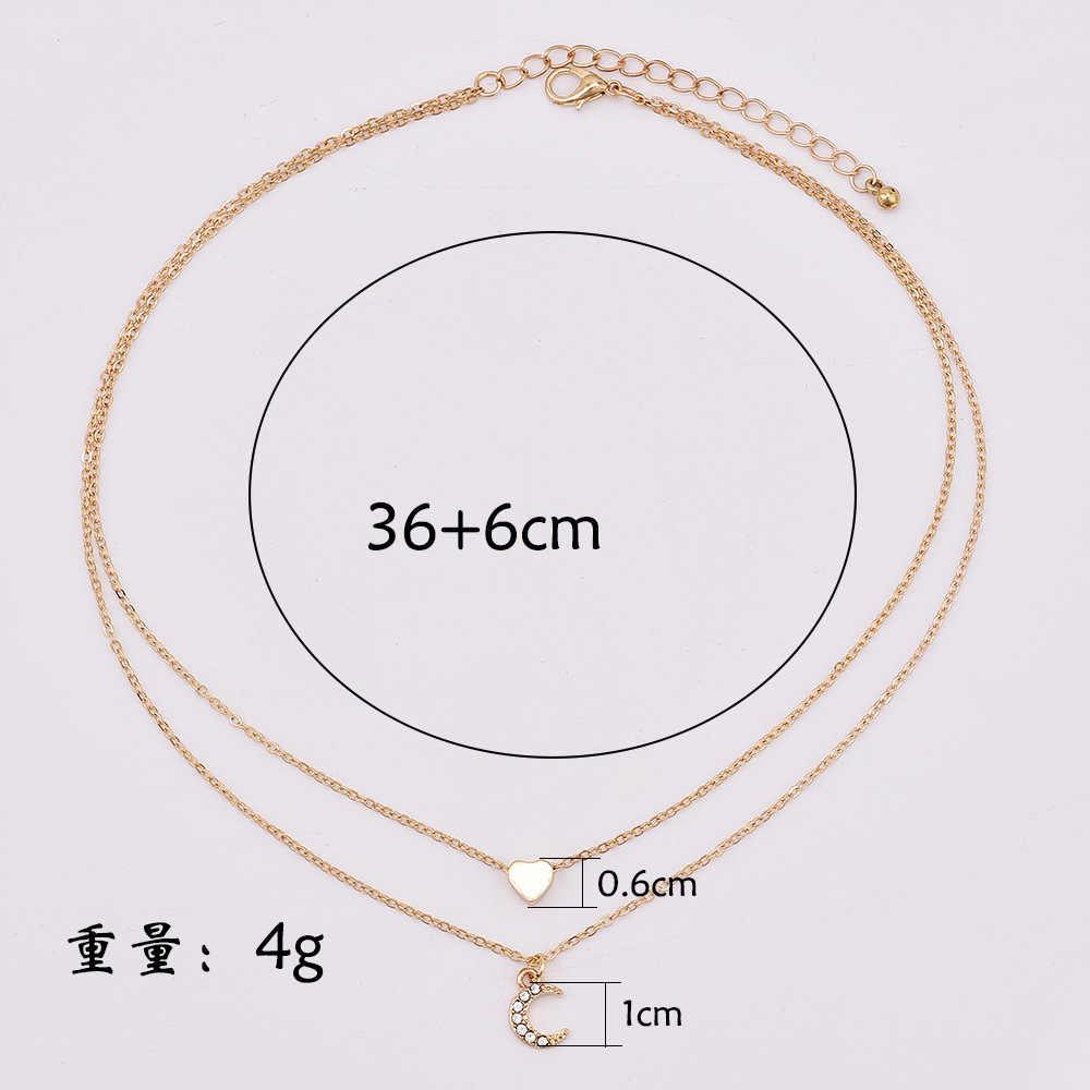 Thời trang Đáng Yêu Đào Trái Tim Tình Yêu Mặt Trăng Mặt Dây Chuyền Choker đối với Phụ Nữ Hai Tầng Vòng Cổ A097