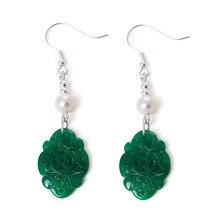 hot deal buy natural emerald pearl earrings 925 sterling silver fine drop earrings elegant simple new design women charm 2018 fine jewelry