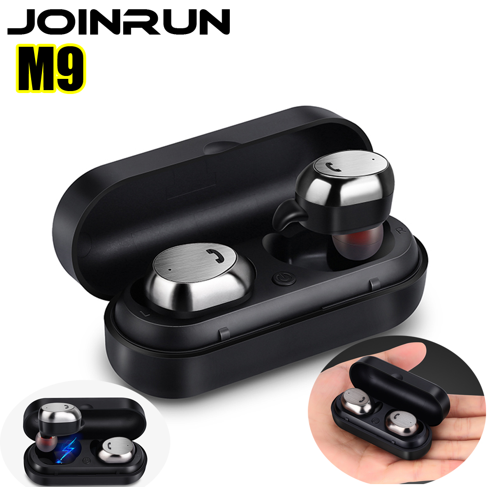 все цены на Joinrun M9 Bluetooth earphone Headset Wireless Earbud Metal Charge Case Mini Stereo Music Bluetooth Earphone with Mic for Phone