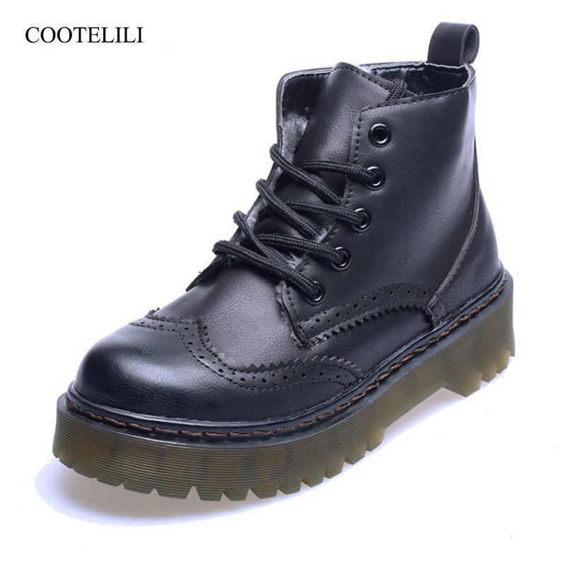 COOTELILI Brogue ฤดูหนาวรองเท้าผู้หญิงหนังวัวแท้กำมะหยี่ข้อเท้า Plush สำหรับผู้หญิงหิมะรองเท้าบูทแพลตฟอร์ม 35-40